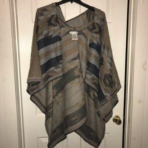 BCBG hooded poncho. Tribal print. Like new